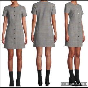 🆕🌻 Theory Easy Snap-Front Windowpane Shift Dress